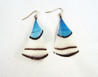 Short Feather earrings White with a blue splash