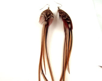 golden tails  feather earrings hand made all natural feathers long