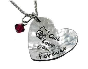 Owl love you forever Fine Pewter Heart Necklace