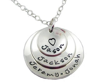 Hand Stamped Layered Mommy Necklace, Sterling Silver