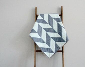 Modern Baby Boy Quilt, Baby Blanket, Crib Quilt, Stroller Blanket - Blue Herringbone