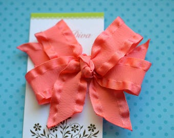 Coral Double Ruffle Classic Diva Bow