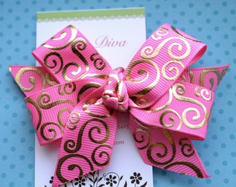 Pink with Golden Swirls Classic Diva Bow