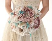 Fabric Brooch Bouquet, SALE Fabric Flower Wedding Bouquet, rhinestone and pearl brooches silk blush flowers teal, turquoise aqua, dusty pink