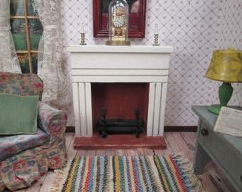 "Vintage Dollhouse Furniture - Wooden Fireplace Mantle - 1"" Scale"
