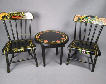 Vintage Hand Painted Pennsylvania Dutch Style Table and Chairs for Large Dollhouse or Small Dolls