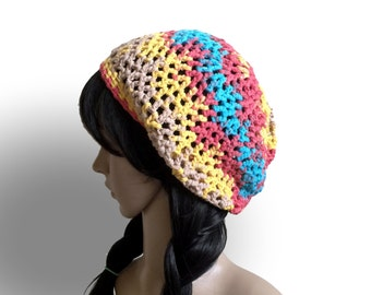 All-Season 100 Percent Cotton Slouchy Tam - Crocheted in Exclusive Lang Cotton Ribbon Yarn in Beige, Blue, Yellow, Red, Teal - Beach Hat Cap