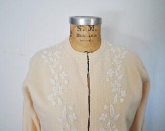 1950s Beaded Sweater / wool and angora rabbit fur Cardigan / Small