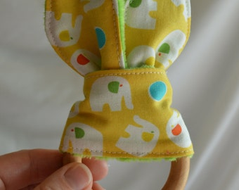 "ELEPHANT Natural Wood Teething Toy w/ cotton and minky ""Bunny Ears"""