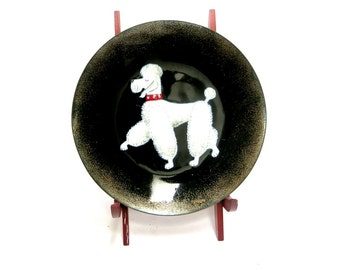 Vintage Copper Enamel Plate with White Poodle Graphic 1950s Mid Century Decor