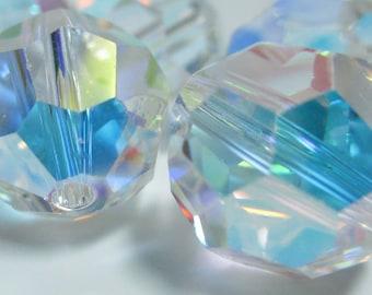8mm Clear AB Swarovski Faceted Round Crystals, 11 pcs, Article 5000, Aurora Borealis, || sku 5000.8.027