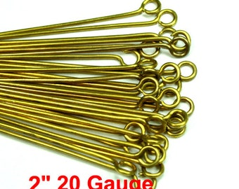 Raw Brass Eye Pins 50mm 2 inches 20 Gauge Hard Wire Heavy Strong -PN-E51x0.8RB -100pcs