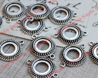 Antique Silver Cabochon Setting Connector Frame 12mm Open Back FRM-A5905AS - 6pcs