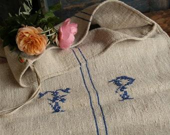 Nr. A371: grainsack,  antique linen; FRESH WATER BLUE; pillow benchcushion;  41.73 long;  wedding decoration; christmas, thanksgiving