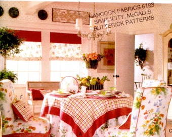 Butterick 5859 Sewing Pattern - Tea Time Accessories - Tablecloth Napkins Place Mats Chair Covers Tea Cozy - Kitchen Linens