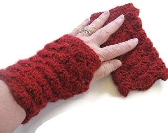 Crochet Red Fingerless Gloves - Dark Red Arm Warmers - Crochet Red Fingerless Mitts - Dark Red Crocheted Wrist Warmers