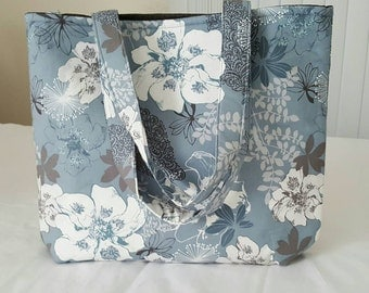 10% OFF SALE!  Blue Gray and White Floral Beach Baby Bag