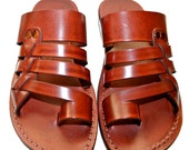 CLEARANCE SALE - Brown Skate Leather Sandals for Men & Women - EURO # 39 - Handmade Unisex Sandals, Genuine Leather Sandals, Sale
