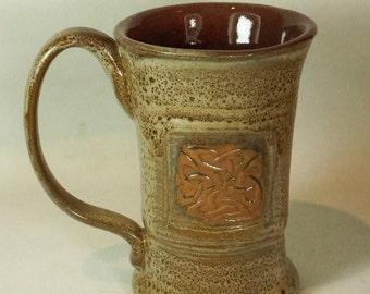 Large Red Brown sale Celtic Mug Handmade Pottery