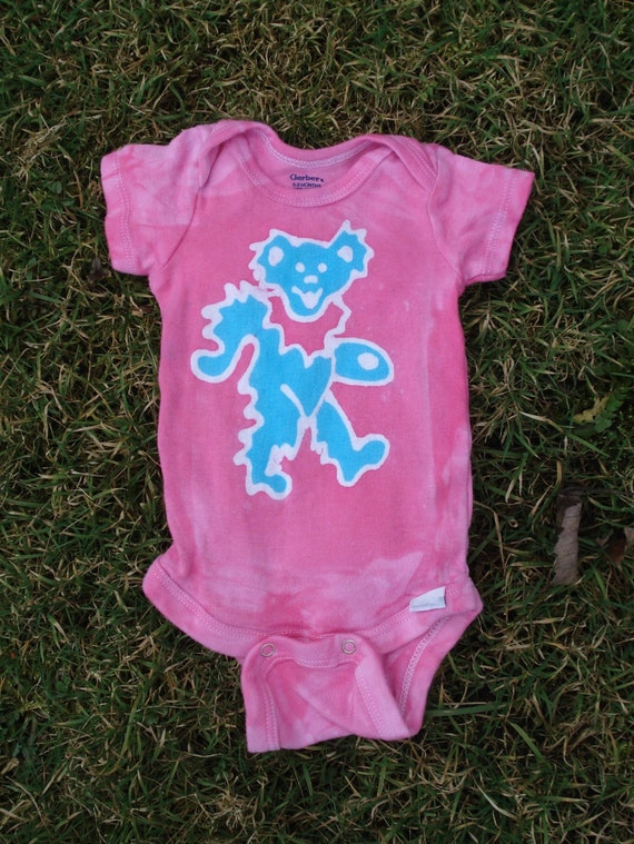The Grateful Dead Dancing Bear batik baby onesie READY to SHIP
