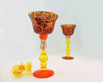 Candle holders or chalices - Set of 2 tall hand painted glass pieces - Florina Collection