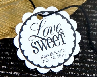 Love is Sweet (script) Personalized Wedding Favor Tags, Love is Sweet Tags . 2 inch scallop