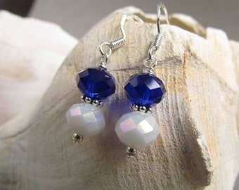 Beaded Earrings, University of Kentucky Blue and White, handmade by harleypaws, SRAJD