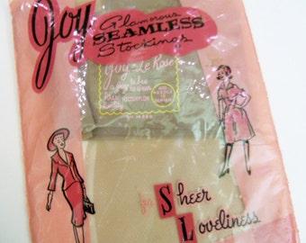 Vintage Joy Glamorous Seamless Stocking in original package 1950's never opened Sheer Loveliness