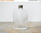 30% OFF SALE glass flask, vintage 20s hip flask, 1927 universal art deco glass hip flask