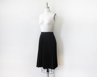 black pleated skirt, vintage accordion pleated skirt, medium black skirt