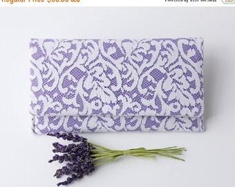 Lavender Clutch, Purple and White Clutch, Lace Wedding Clutch, Purple Bridesmaid Clutch, Personalized Clutch, Linen Clutch, Vegan Clutch