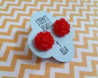 Red Cabbage Rose Beautiful Bloom Flower Earrings