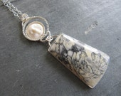 Large Pinolith, Moon, and Silver Pendant