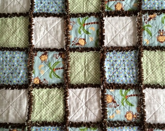 Monkey Rag Quilt in Brown Blue and Green
