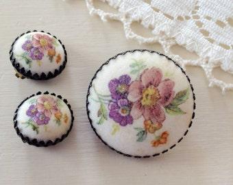 Vintage Sugar Flowers - Floral Sugared Pin Brooch & Earrings Set