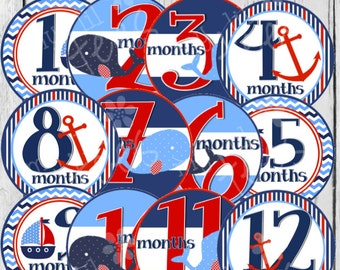 MONTHLY IRON ONS or Monthly stickers for Baby - Whales - for baby - (StyleC08)