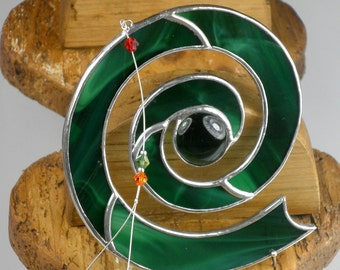 Dark green Stained glass Celtic Spiral Suncatcher  & Window ornament