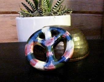 Peace Sign Pendant Tie Dye Ceramic Green White Rose pink white Jewelry Supply #151