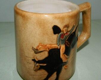 Vintage 50s Western Rodeo Cowboy Bull Rider Bronc Rider Hand Painted Ceramic Coffee Cup Folk Art