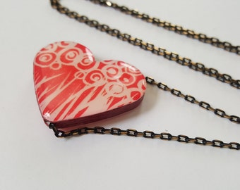 Red Heart Flat Paper Bead Necklace