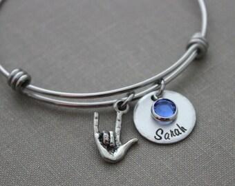 I love you sign language bracelet  stainless steel wire bangle, Children's name bracelet Custom Hand stamped, Swarovski crystal birthstones