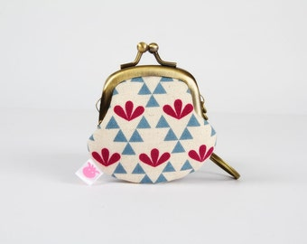 Keychain purse - Leaves and triangles in blue and plum - Big Lillipurse / Metal frame coin purse / Japanese fabric