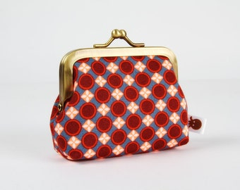 Metal frame change purse - Trèfle bleu azur - Deep mum / Petit Pan french fabric / blue burgundy neon orange rusty red / geometric dots fall