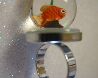 I Love Sushi and my pet goldfish Novelty Ring Adjustable art to wear handmade fun artisan made not 24k carrots diet ring