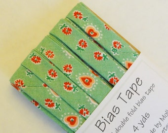 "Bias Tape - 4 yds of 1/2"" Double Fold - Green with pink flowers and hearts"