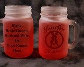 "Western Wedding theme ""Just got hitched"" Beer jar glass set of 2 in clear"