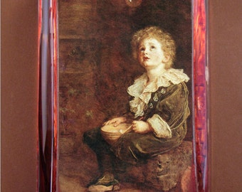 Bubbles Painting Large Rectangle Glass Paperweight by Sir John Everett Millais Rust and Brown Decor