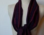 Handwoven Scarf in Aubergine and Multicolor Alpaca Silk and Ebony Merino Silk