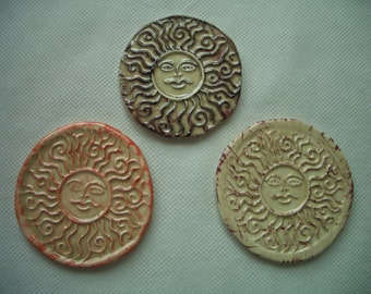 ANQ -  3 INTRICATE Antique Look SUNS - Ceramic Wall Decor