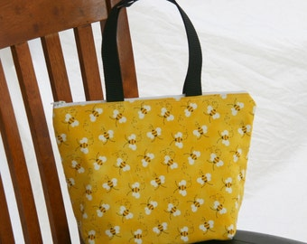Ready to Ship-Child Size- Kid Size Bumblebees Insulated Lunch Bag- Tote- Zipper Lunch Bag Water and Mildew Resistant Interior